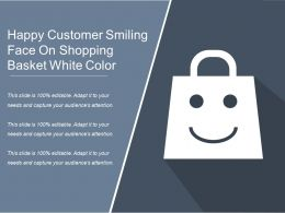 Happy Customer Smiling Face On Shopping Basket White Color
