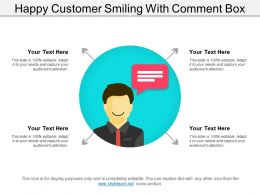 Happy Customer Smiling With Comment Box