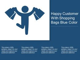 Happy Customer With Shopping Bags Blue Color