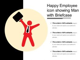 Happy Employee Icon Showing Man With Briefcase