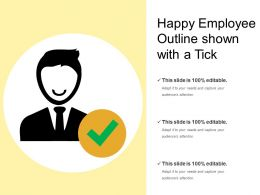 Happy Employee Outline Shown With A Tick