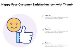 Happy Face Customer Satisfaction Icon With Thumb