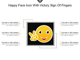 Happy Face Icon With Victory Sign Of Fingers
