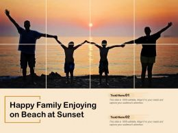 Happy Family Enjoying On Beach At Sunset