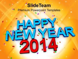Happy New Year 2014 Concept PowerPoint Templates PPT Backgrounds For Slides 1113