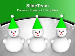 Happy Snowman Friends Winter Christmas PowerPoint Templates PPT Themes And Graphics