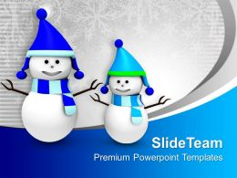 Happy Snowmen Christmas Holidays PowerPoint Templates PPT Themes And Graphics