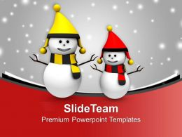 Happy Snowmen On Christmas Background PowerPoint Templates PPT Themes And Graphics