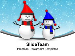 Happy Snowmen Winter Holidays PowerPoint Templates PPT Themes And Graphics