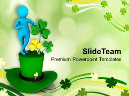 Happy St Patricks Day Green Hat Celebration Templates Ppt Backgrounds For Slides