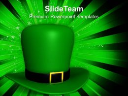 Happy St Patricks Day Green Hat Of Templates Ppt Backgrounds For Slides
