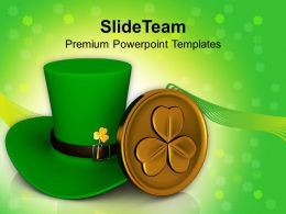 Happy St Patricks Day Green Hat Shamrock Templates Ppt Backgrounds For Slides