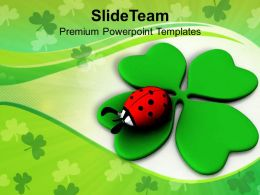 Happy St Patricks Day Lady Bug Over Leaf Green Celebration Templates Ppt Backgrounds For Slides