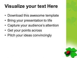Happy St Patricks Day Lady Bug Over Leaf Green Celebration Templates Ppt Backgrounds For Slides