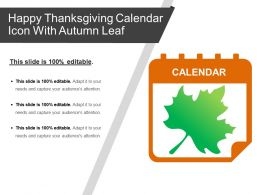 Happy Thanksgiving Calendar Icon With Autumn Leaf