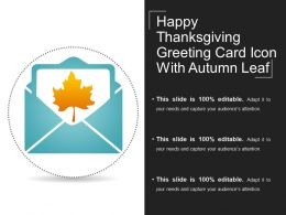 Happy Thanksgiving Greeting Card Icon With Autumn Leaf