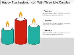 Happy Thanksgiving Icon With Three Lite Candles