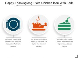 Happy Thanksgiving Plate Chicken Icon With Fork