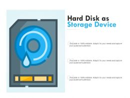Hard Disk As Storage Device