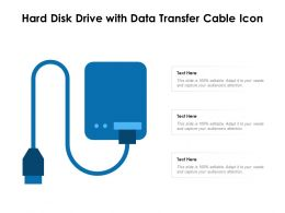 Hard Disk Drive With Data Transfer Cable Icon