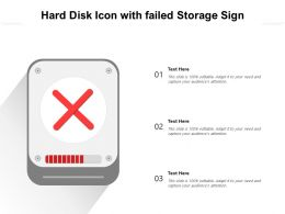 Hard Disk Icon With Failed Storage Sign