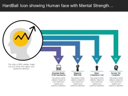 Hardball Icon Showing Human Face With Mental Strength To Compete