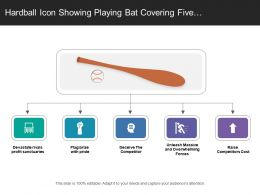 Hardball Icon Showing Playing Bat Covering Five Different Strategies