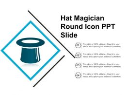Hat Magician Round Icon Ppt Slide