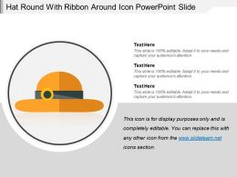 Hat Round With Ribbon Around Icon Powerpoint Slide