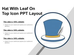 Hat With Leaf On Top Icon Ppt Layout