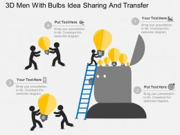 Hb 3d Men With Bulbs Idea Sharing And Transfer Flat Powerpoint Design