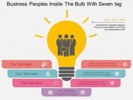 Hb Business Peoples Inside The Bulb With Seven Tags Flat Powerpoint Design