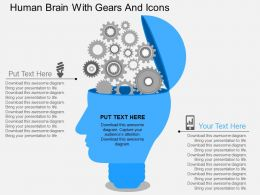 Hb Human Brain With Gears And Icons Flat Powerpoint Design