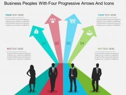 Hc Business Peoples With Four Progressive Arrows And Icons Flat Powerpoint Design