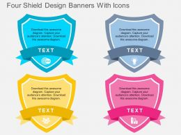 hc Four Shield Design Banners With Icons Flat Powerpoint Design