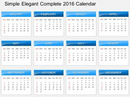 Hc Simple Elegant Complete 2016 Calendar Powerpoint Template