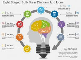 Hd Eight Staged Bulb Brain Diagram And Icons Flat Powerpoint Design