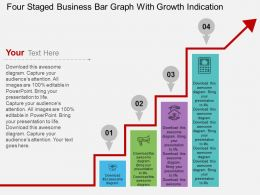hd Four Staged Business Bar Graph With Growth Indication Flat Powerpoint Design