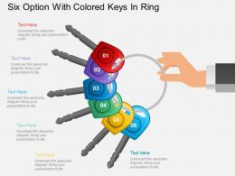 Hd Six Option With Colored Keys In Ring Powerpoint Template