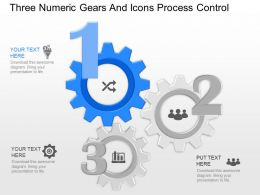 hd Three Numeric Gears And Icons Process Control Powerpoint Template