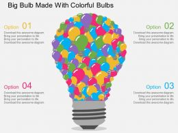 He Big Bulb Made With Colorful Bulbs Flat Powerpoint Design
