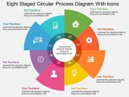 He Eight Staged Circular Process Diagram With Icons Flat Powerpoint Design