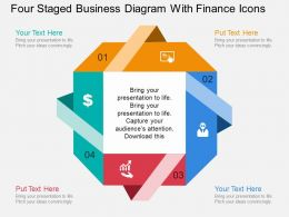 he Four Staged Business Diagram With Finance Icons Flat Powerpoint Design