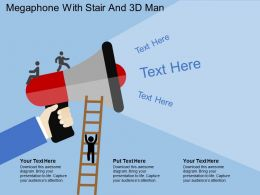 he_megaphone_with_stair_and_3d_man_flat_powerpoint_design_Slide01