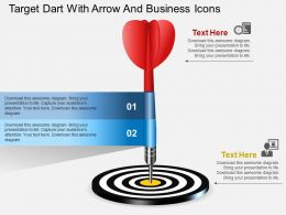 He Target Dart With Arrow And Business Icons Powerpoint Template