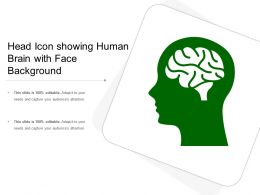 Head Icon Showing Human Brain With Face Background