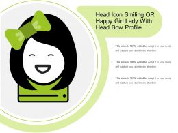 Head Icon Smiling Or Happy Girl Lady With Head Bow Profile
