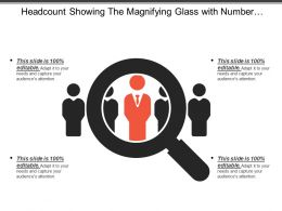 Headcount Showing The Magnifying Glass With Number Of People