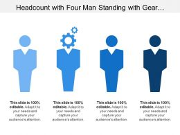 Headcount With Four Man Standing With Gear Symbol Too