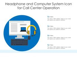 Headphone And Computer System Icon For Call Center Operation